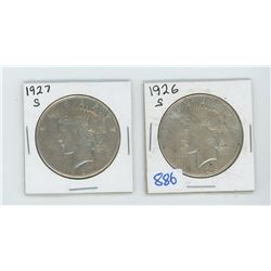 1926, 1927 American Silver Dollar Lot of 2