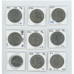 8 American Nickle Dollars, 1 Canadian Lot of 9