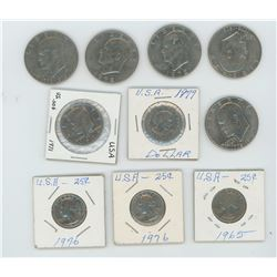 6 American Nickle Dollars,One 504, Three 25 Cent