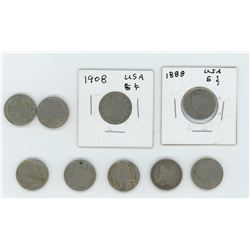 9 - American 5 Cent Various Dates and Grades