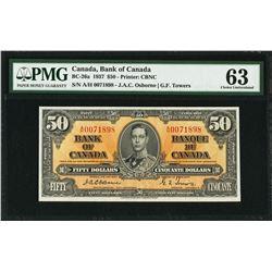Bank of Canada BC-26a 1937 $50  Osborne CHUNC63 PMG