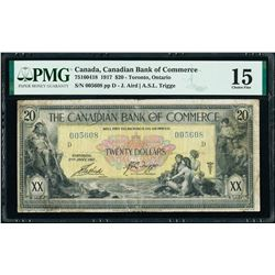 Canadian Bank of Commerce 75-16-04-18 1917 $20 Rare TRIGGE signature PMG F15 TOP POP