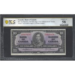 Bank of Canada BC-24a 1937 $10 AU58 PCGS