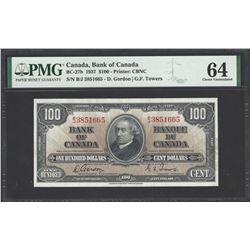 Bank of Canada BC-27b 1937 $100 CHUNC64 PMG