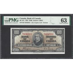 Bank of Canada BC-27c 1937 $100 CHUNC63 PMG