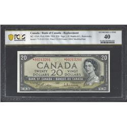 Bank of Canada BC-41bA 1954 $20 *V/E EF40 PCGS