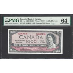 Bank of Canada BC-44e 1954 $1,000 CHUNC64 PMG