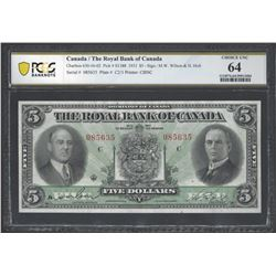 Royal Bank of Canada 630-16-02 1933 $5 CHUNC64 PCGS