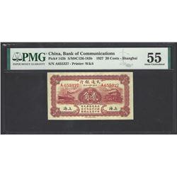 China Bank of Communications Pick 143b 1927 20 cents AU55 PMG