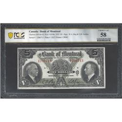 Bank of Montreal 505-60-02 1935 $5 AU58 PCGS
