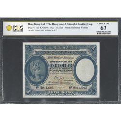 Hong Kong HSBC Pick 172c 1935 $1 CHUNC63 PCGS