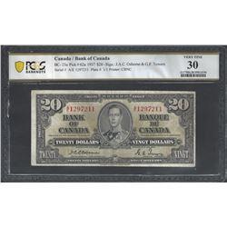 Bank of Canada BC-25a 1937 $20 Osborne VF30 PCGS