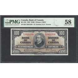 Bank of Canada BC-27b 1937 $100 AU58 PMG