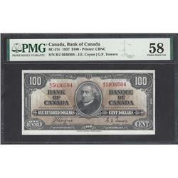 Bank of Canada BC-27c 1937 $100 AU58 PMG