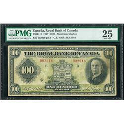 Royal Bank of Canada 630-14-18 1927 $100 VF25 PMG RARE NEIL HOLT SIGNATURES