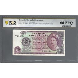 Bermuda PIck 22 1964 10 Pounds GEM66 PPQ PCGS