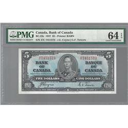 Bank of Canada BC-23c 1937 $5 CHUNC64 EPQ PMG