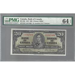 Bank of Canada BC-25b 1937 $20 CHUNC64 EPQ PMG