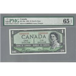 Bank of Canada BC-29a 1954 $1 LOW SERIAL NUMBER GEM65 EPQ PMG
