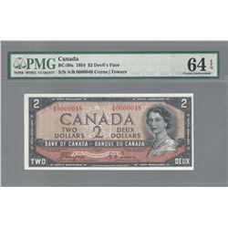 Bank of Canada BC-30a 1954 $2 LOW SERIAL NUMBER CHUNC64 EPQ PMG