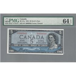 Bank of Canada BC-31a 1954 $5 LOW SERIAL NUMBER CHUNC64 EPQ PMG