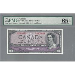 Bank of Canada BC-32a 1954 $10 LOW SERIAL NUMBER GEM65 EPQ PMG