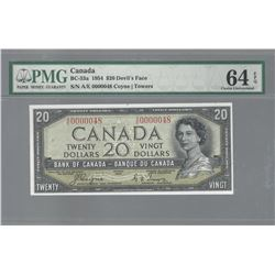 Bank of Canada BC-33a 1954 $20 LOW SERIAL NUMBER CHUNC64EPQ PMG