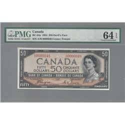 Bank of Canada BC-29a 1954 $50 LOW SERIAL NUMBER CHUNC64EPQ PMG