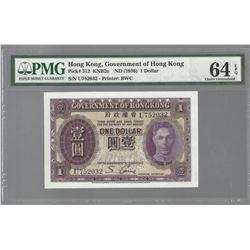 Hong Kong Pick 312 1936 $1 CHUINC64 EPQ PMG