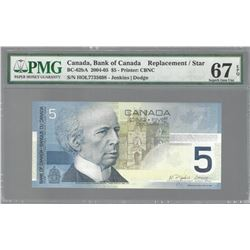Bank of Canada BC-62bA 2004 $5 REPLACEMENT GEM67EPQ
