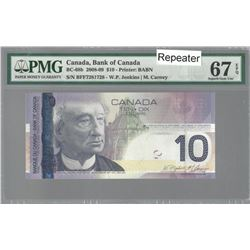 Bank of Canada BC-68b 2008 $10 REPEATER GEM67 EPQ PMG