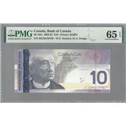 Bank of Canada BC-68a 2008 $10 RADAR GEM65 EPQ PMG