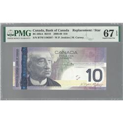 Bank of Canada BC-68bA 2008 $10 REPLACEMENT GEM67 EPQ PMG