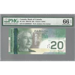 Bank of Canada LOW SERIAL NUMBER 2008 $20 GEM66 EPQ PMG