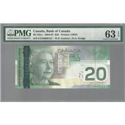 Bank of Canada LOW SERIAL NUMBER 2008 $20 CHUNC63 EPQ PMG