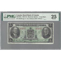 Royal Bank oif Canada 630-18-02a 1935 Large sigs VF25 PMG