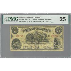 Bank of Toronto 715-24-04 1937 $5 VF25 PMG