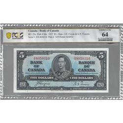 Bank of Canada BC-23c 1937 $5 CHUNC64 PCGS