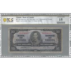 Bank of Canada BC-24a 1937 $10 Osborne F15 (edge tear) PCGS