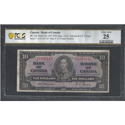 Bank of Canada BC-24a 1937 $10 VF25 PCGS