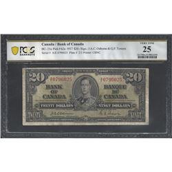 Bank of Canada BC-25a 1937 $20 OSBORNE VF25 PCGS