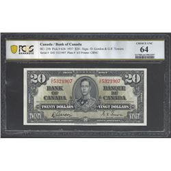 Bank of Canada BC- 25b 1937 $20 CHUNC64 PCGS