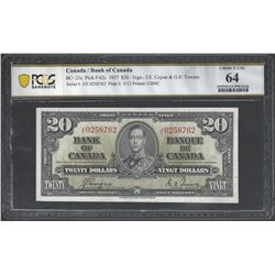 Bank of Canada BC-25c 1937 $20 CHUINC64 PCGS