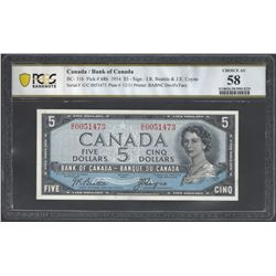 Bank of Canada BC- 31b 1954 $5 AU58 PCGS
