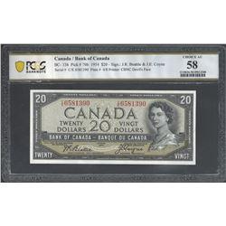 Bank of Canada BC-33b 1954 $20 AU58 PCGS
