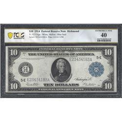 USA FR. 923 1914 $10 EF40 PCGS