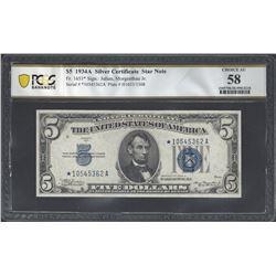 USA Fr. 1651* 1934A $5 AU58 PCGS