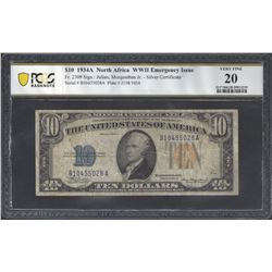 USA Fr. 2309 1934 $10North Africa  VF20 PCGS