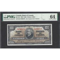 Bank of Canada BC-27c 1937 $100 CHUNC64 PMG