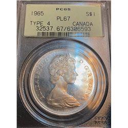 Canada 1965 T4 dollar PL67 PCGS